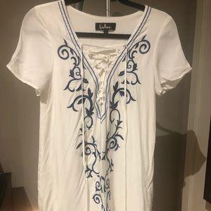 Lulus Down in Kokomo Ivory Embroidered Shift Dress